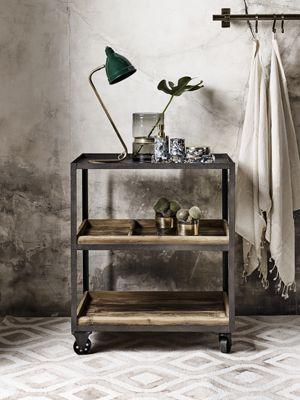 Desserte ou trolley en métal vieilli et bois de sapin recyclé Ale Nordal