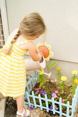 Kid's garden plot: Dollar store garden fence spray painted a color the kids choose - add a sign with their names. Click to see