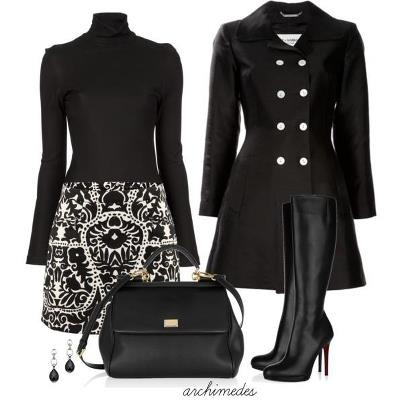 Black and white.....I found a version of the skirt that will work for me. In addition, I have ordered the black coat/jacket. Considering ordering the coat/jack in white, and wearing a black or white 3/4 sleeve silky top instead of the black turtleneck.