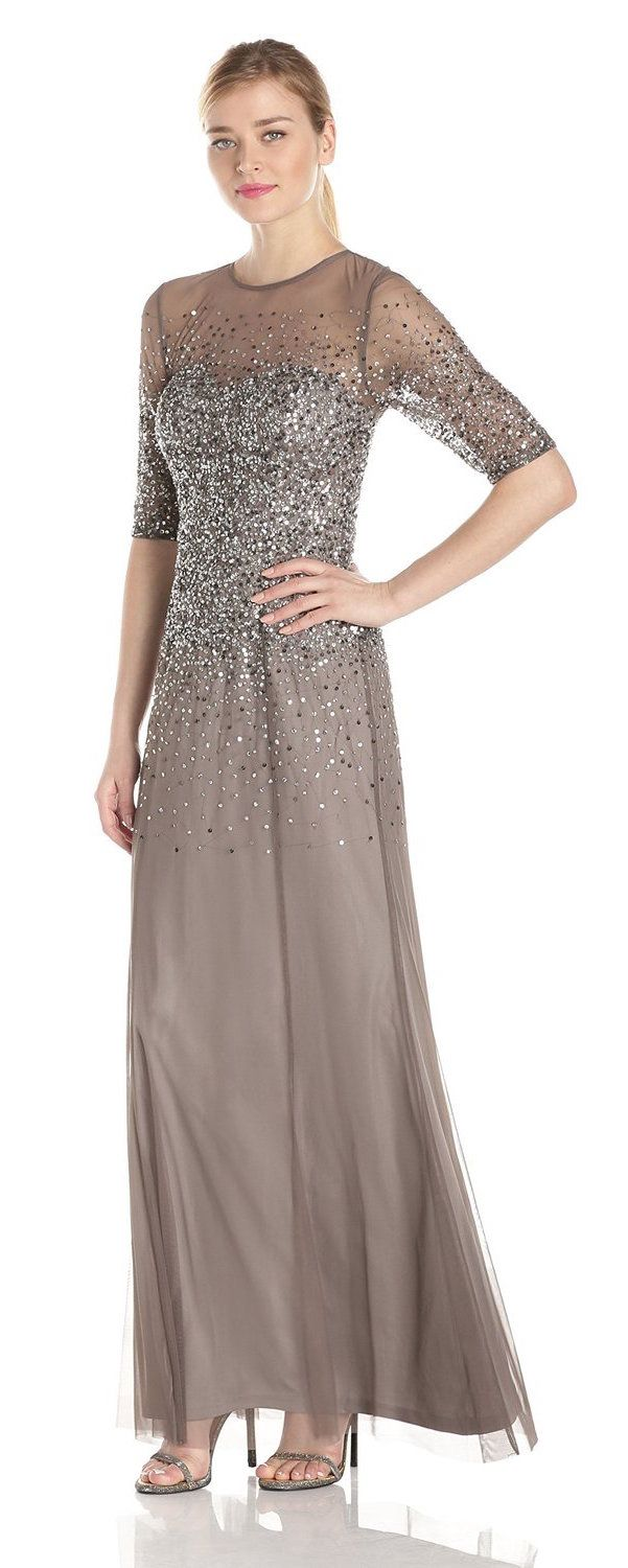 adrianna papell womens 3 4 sleeve beaded illusion gown with