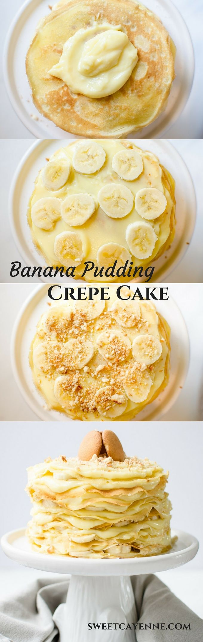 This recipe for 12 Layer Banana Pudding Crepe Cake piles butter crepes with luscious vanilla pudding, sliced bananas, and crushed Nilla wafer cookies!
