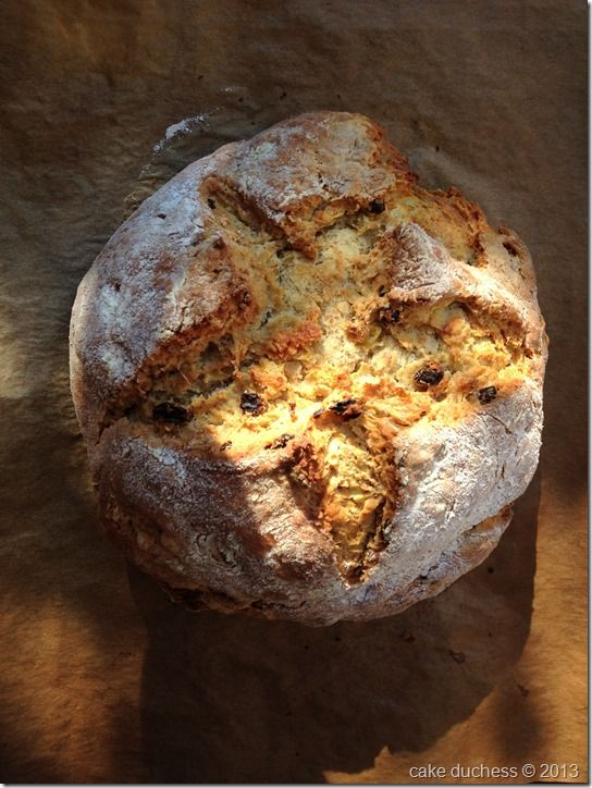 Irish Soda Bread-Spotted Dog 2 c unbleached flour +1/4 c wheat bran 1 t baking soda 1/2 t salt 1/2 stick cold unsalted butter cut into bits 1 c raisins 1 c buttermilk or plain yogurt Directions:   Preheat oven to 400 F and sprinkle a baking sheet lightly with flour or parchment paper