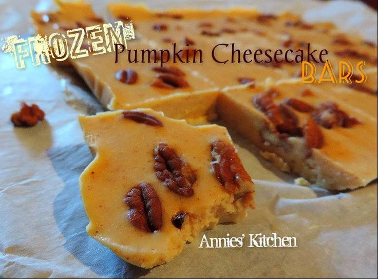 Frozen Pumpkin Cheesecake Bars! Low Carb and No Sugar Added..  Get the recipe:  https://www.facebook.com/photo.php?fbid=10204953520977685&set=a.1209514197928.32833.1230907378&type=1&theater