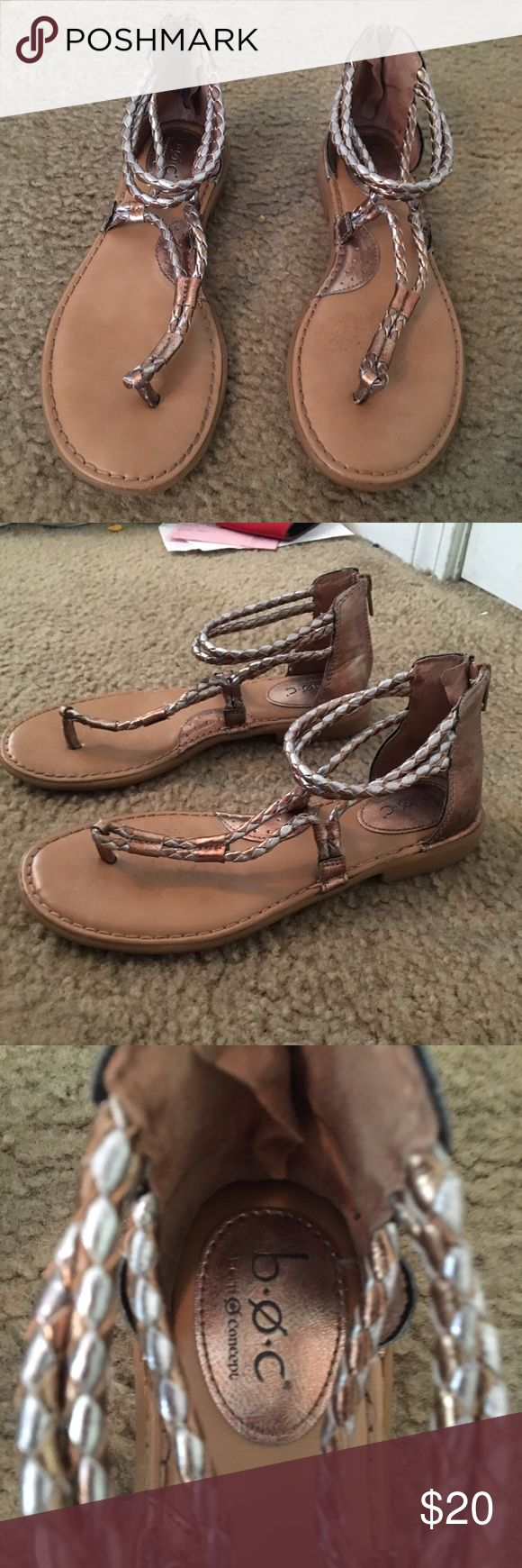 Bronze and silver sandals. Never worn. Bronze and silver zip up sandals Shoes Sandals