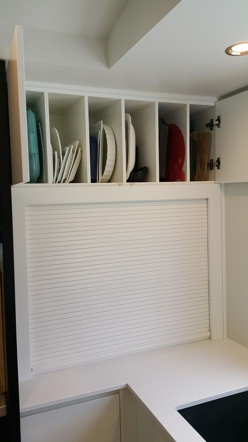 Over bench tray storage, over hidden appliance storage with roller door #kitchen