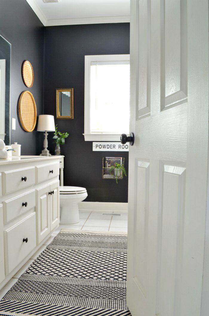 Bathroom Makeover With Black Painted Walls At Home With The Barkers Black Painted Walls Black Bathroom Paint Bathroom Makeover