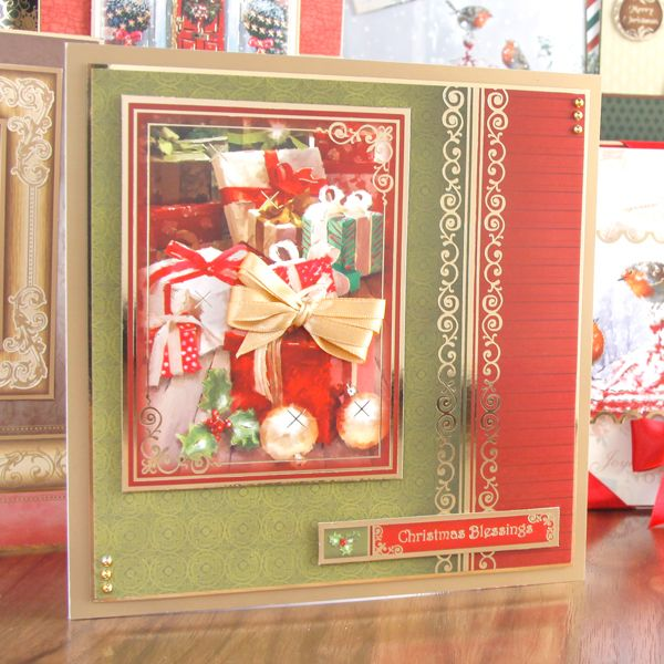 Hunkydory Christmas Traditions die cut toppers & card - Warmest Wishes, fire, gifts