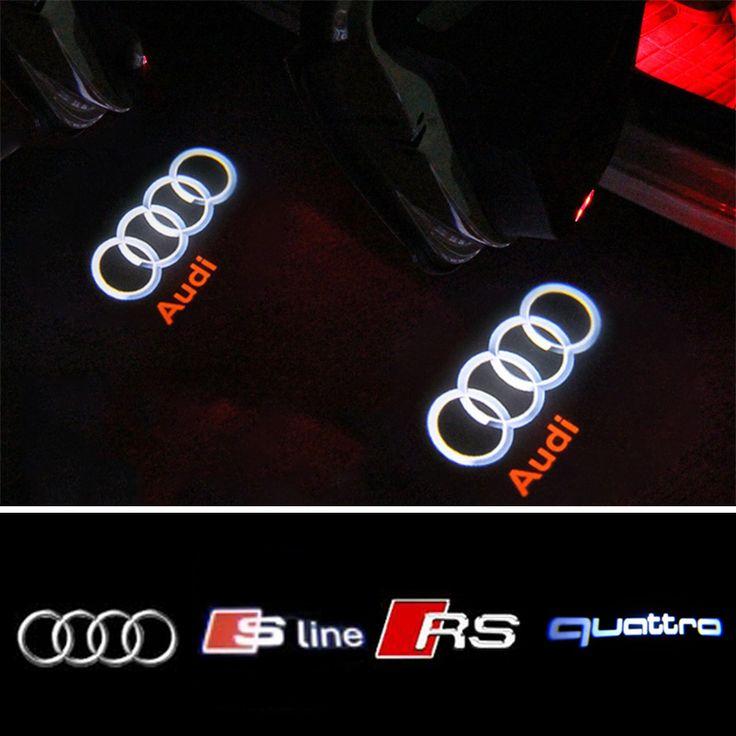 Mobil LED Courtesy Pintu Cahaya Logo Proyektor Untuk Audi A6 C5 C6 A4 B6 B8 80 A1 A3 A5 A7 A8 Q3 Q5 Q7 TT R8 RS garis S S3 S4 S5 B5 B7