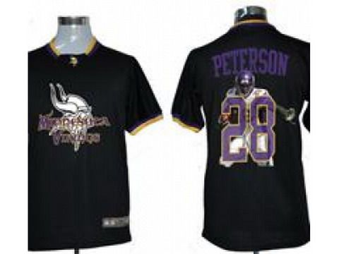 nike minnesota vikings 28 adrian peterson team black all star fashion nfl jerseys