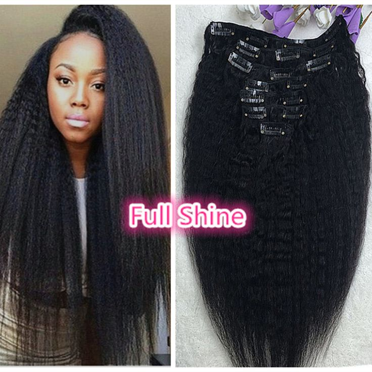 Full Shine 100 Real Human Hair Kinky Straight Clip in Human Hair Extensions Natural Color Clip ins For Africa American Woman