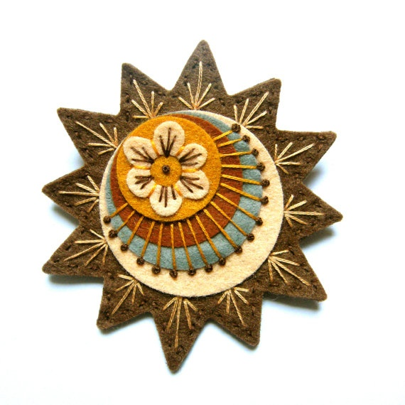STARBURST felt brooch pin with freeform embroidery - scandinavian style. Designed by Jane