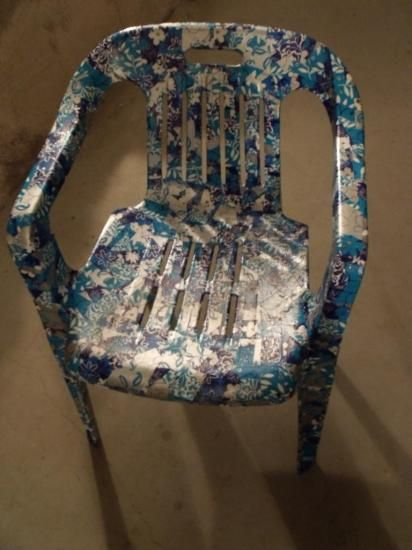 #Decoupage chair revamp makeover using #Decopatch paper.  Plastic garden chair recycle.