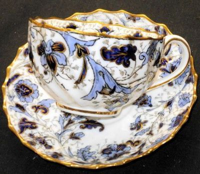 WT Copeland Spode England Royal Blue Gold Antique Cup and Saucer Set