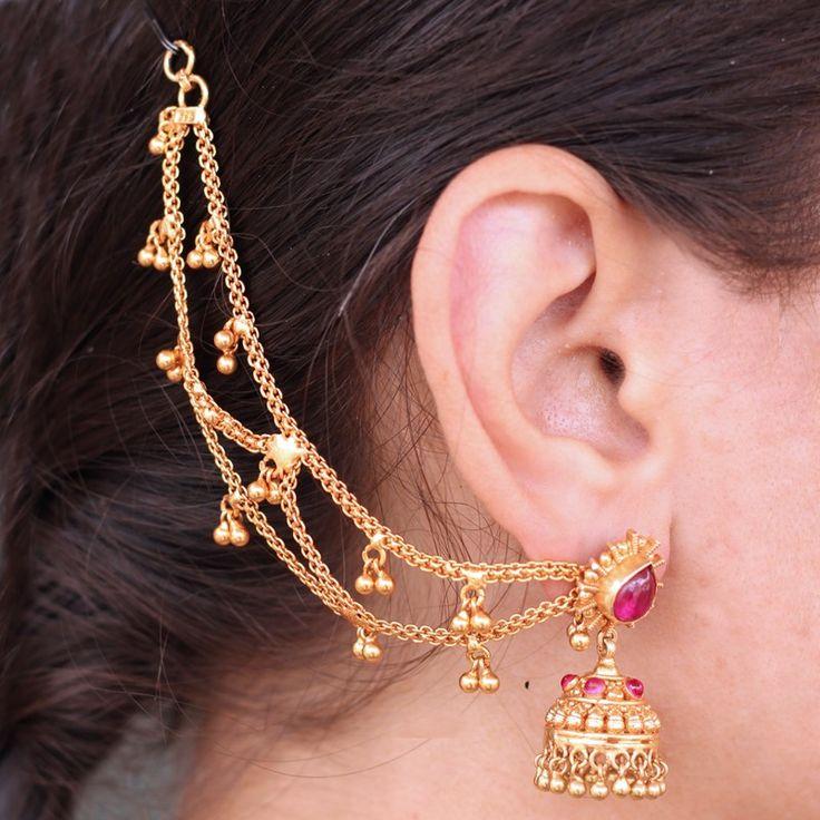 Gemstone Bhairavi Jhumka Earrings/Earcuff for Wedding
