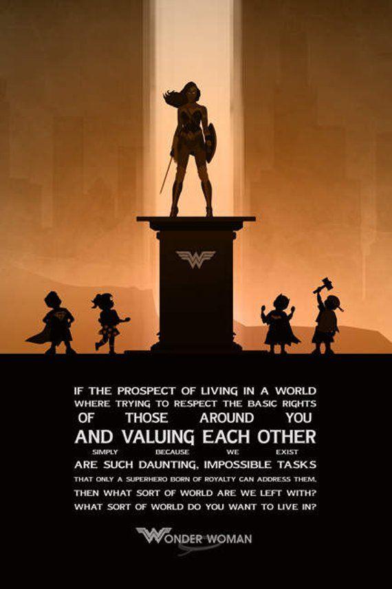 Wonder Women Poster Wonder Women Print Superheroes Minimalist Etsy Comics Quote Wonder Woman Quotes Wonder Woman Art