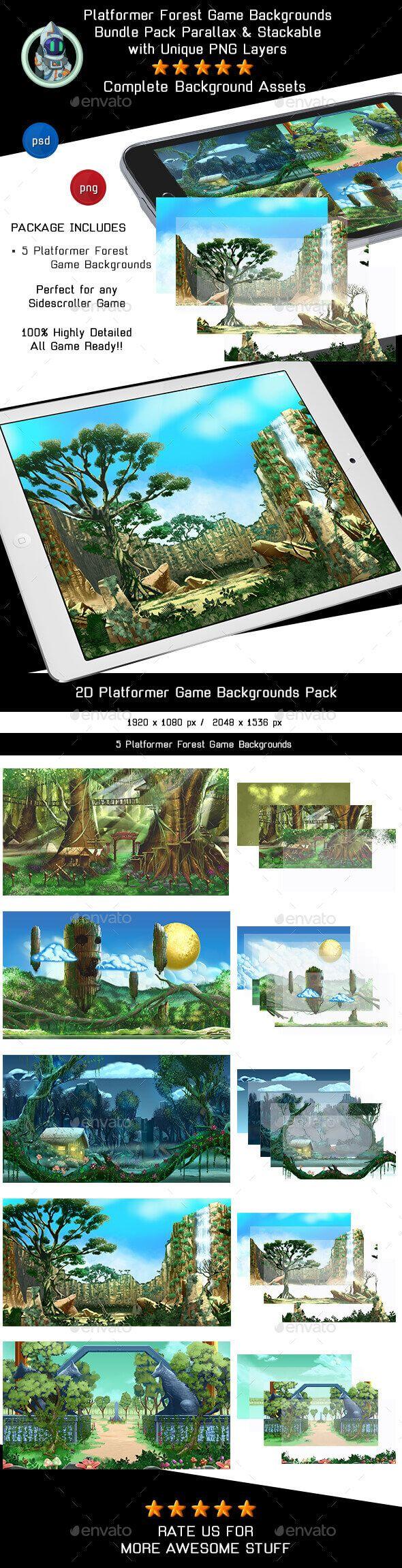 5 Platformer Forest Game Backgrounds - Parallax & Stackable - Backgrounds Game Assets