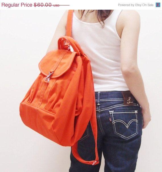 CHRISTMAS SALE Orange Canvas Women Backpack Rucksack by Kinies, $54.00