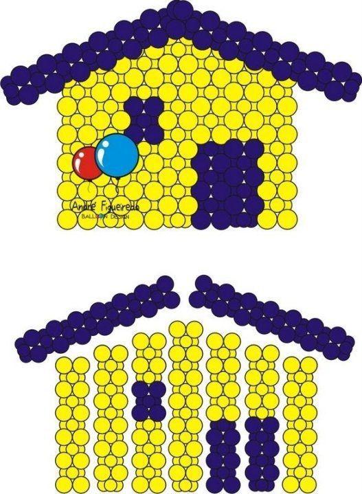 Proyecto en globos / casa de globos/ back pannel en globos