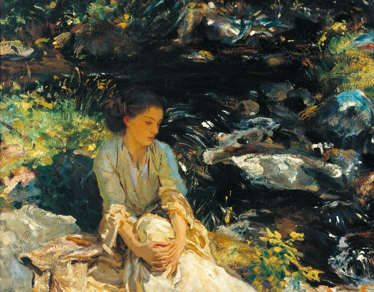 John Singer Sargent, 'The Black Brook' c.1908. The girl is the artist's niece, Rose Marie Ormond.