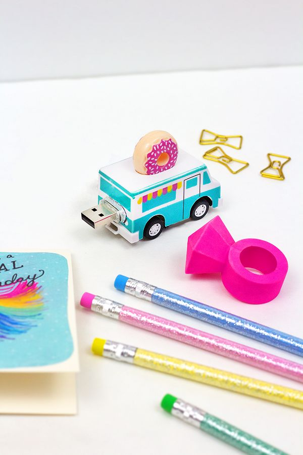 DIY Toy Donut Truck Thumb Drive.My favorite part of using this thumb drive is backing up the truck into the USB port.