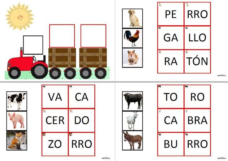 El tractor de las palabras bisílabas, con 21 palabras entre animales y frutas