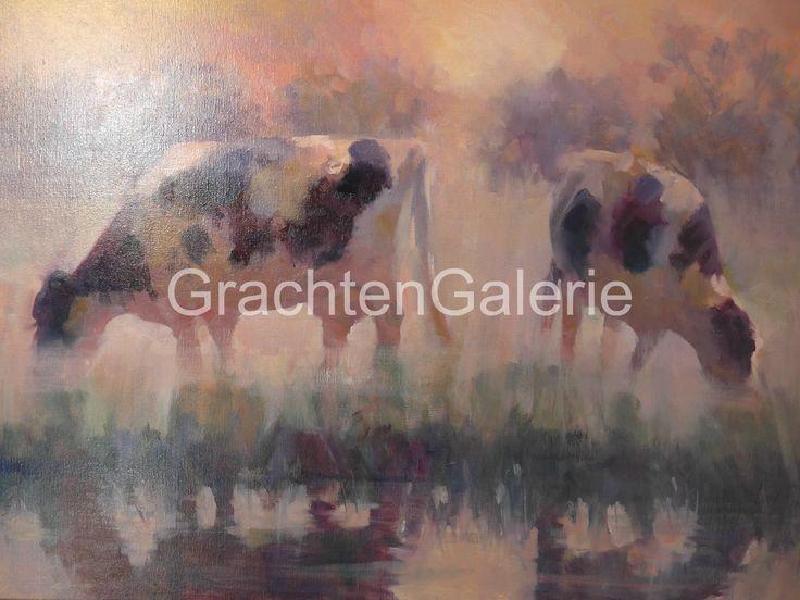 Koeien in de mist | Corry Kooy | Schilderij | Landscape | Art