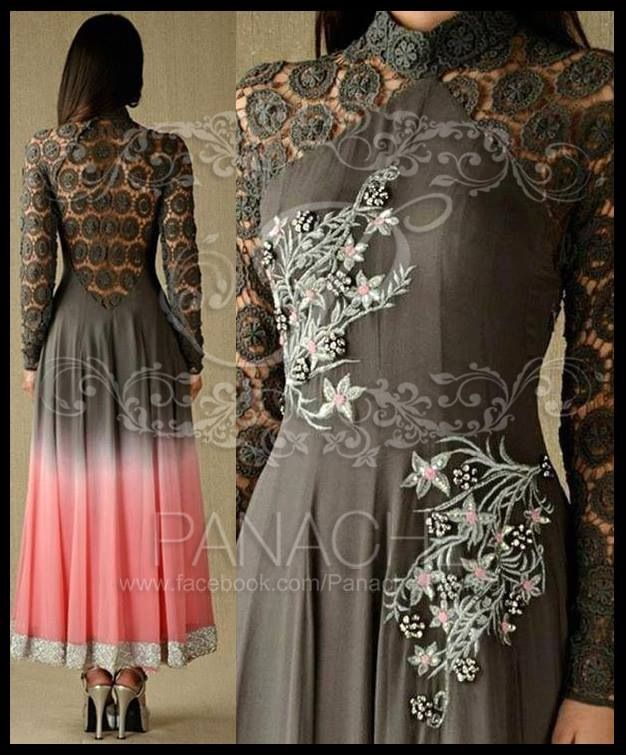 Laced Indian outfit - not a fan of the awkwardly creeping flowers, but I love lace backs.