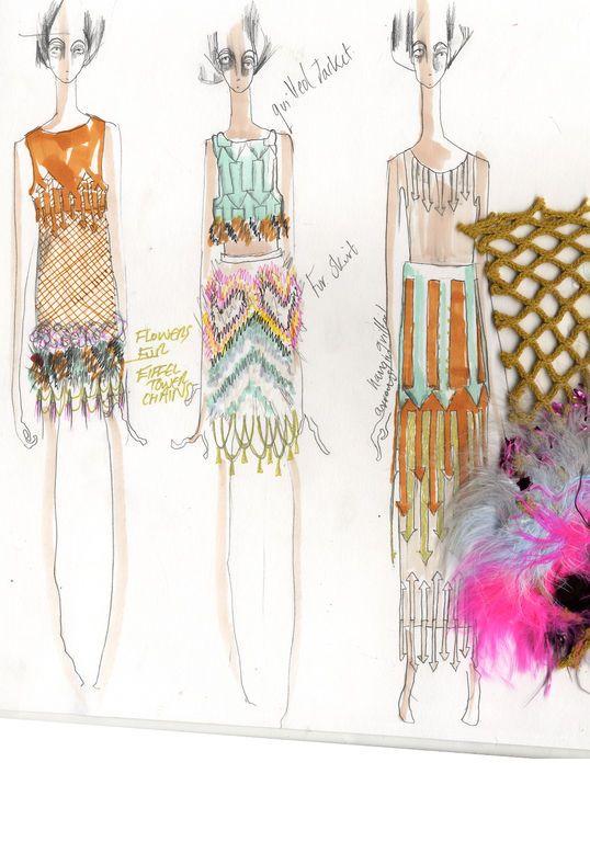 Fashion Sketchbook - fashion design drawings; surface patterns, print & texture development // Nicola Brindle, London College of Fashion