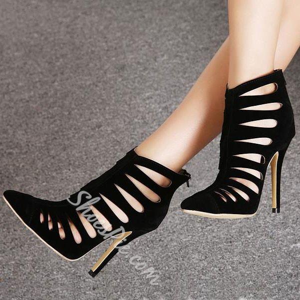 Shoespie Cut-outs Back Zipper Stiletto Heels
