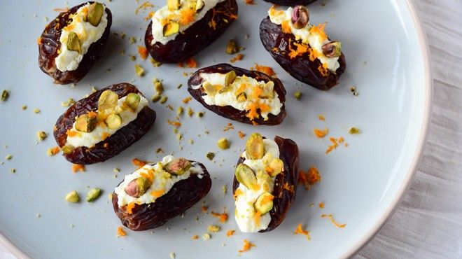 Medjool Dates with mascarpone and pistachio