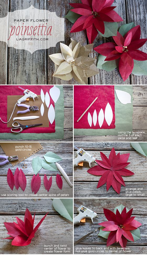How to Make Paper Poinsettias. Free pattern and tutorial @LiaGriffith