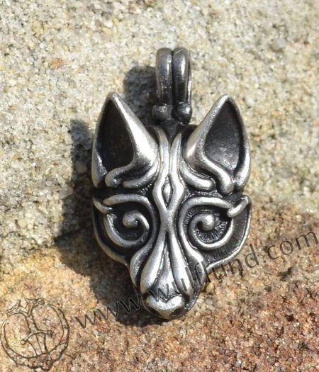VIKING WOLF HEAD, silvered pendant by Wulflund