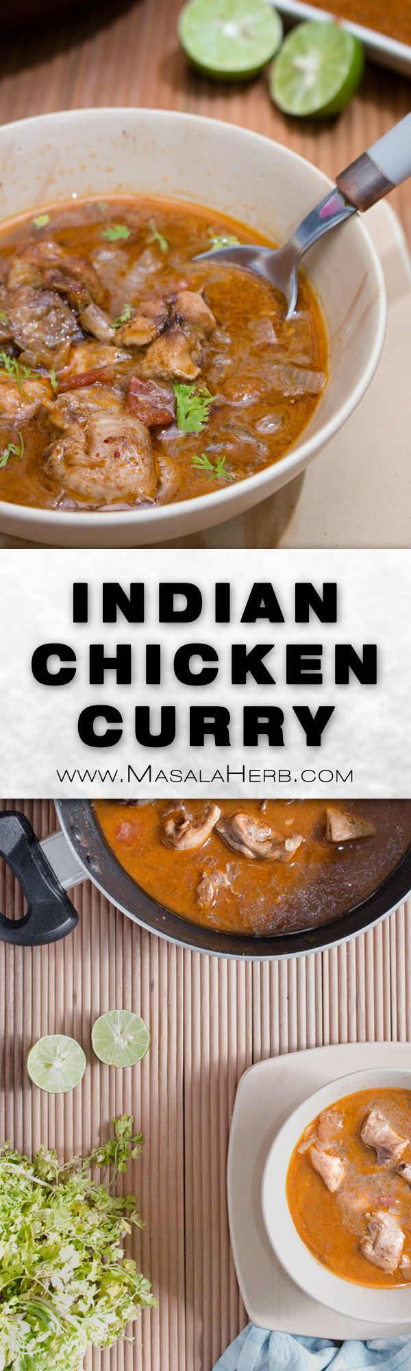 Easy Indian Chicken Curry Recipe - how to make chicken curry with coconut milk [One-Pot+VIDEO] www.MasalaHerb.com