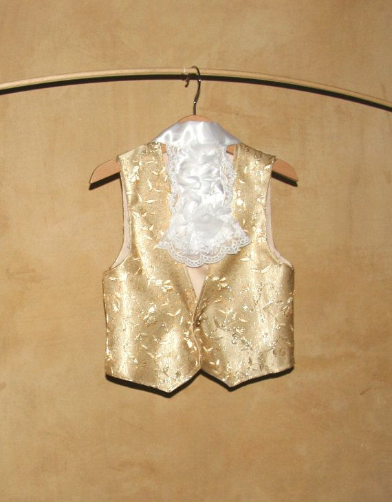 Children Gold Vest in gold damask with lace jabot by PABUITA