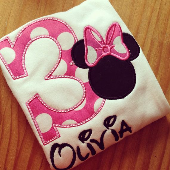 Custom Boutique Minnie Mouse Birthday Appliqued Tee Your choice of number or letter on Etsy, $22.00