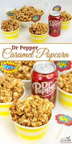 Only the best Caramel Popcorn ever! This easy homemade Dr. Pepper Caramel Popcorn is creamy and sweet with just a hint of authentic Dr. Pepper flavor and makes the perfect snack for movie parties. This recipe uses real Dr Pepper reduced to a syrup, sweetened condensed milk to keep the caramel soft and chewy (and not break your tooth hard). It also packages well for treat gift bags! WonderfulMovieNight WonderWoman AD