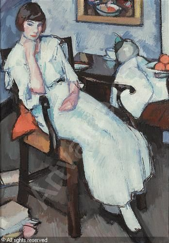Girl in White by Samuel John Peploe (Scottish 1871-1935)