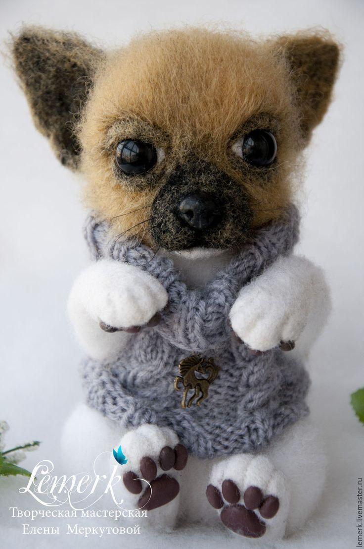 Купить Оскар. Белоснежный войлочный щенок чихуахуа - белый, чихуахуа, чихуахуа из войлока, чихуа, чихуашка