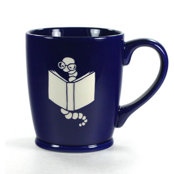 Bookworm Mug Navy Blue microwave/dishwasher Safe Cute Nerdy Coffee Cup ($25) ❤ liked on Polyvore featuring home, kitchen & dining, drinkware, drink & barware, grey, home & living, mugs, vintage stoneware, outdoor drinkware and quote mugs