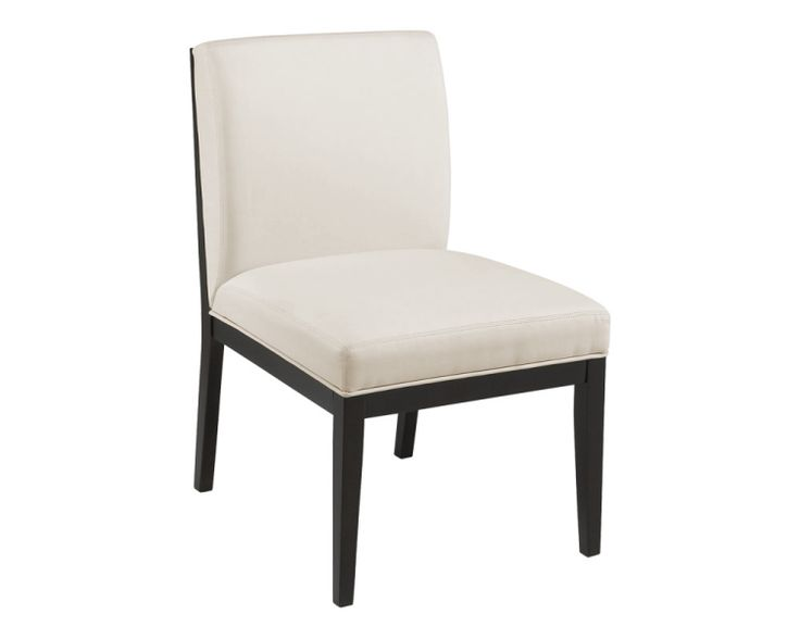 This modern and slightly over-sized dining chair can also be used as an occasional chair. Available in Natural Linen Fabric with a solid wood frame in an espresso finish.