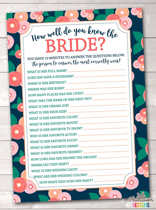 How Well Do You Know The Bride: Spring Bloom How Well Do You Know The Bride Printable