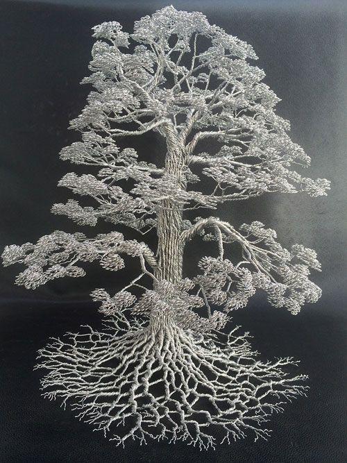 1本の針金から形成された木の彫刻アート「Wire Tree Sculptures」   DesignWorks デザインワークス