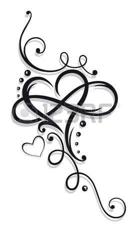 tattoo hart: Hart en oneindigheid, Tattoo voor Valentijnsdag Stock Illustratie
