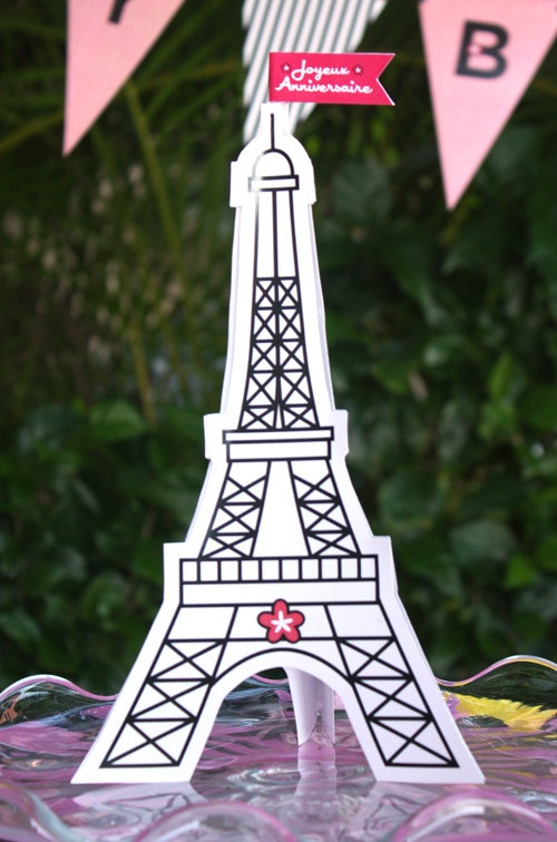 Printable Eiffel Tower Cake Topper 5 00 Via Etsy Melbourne Cup Hats Manualidades Torre Sombreros