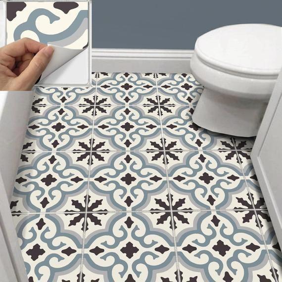 Tile Sticker Kitchen Bath Floor Wall Waterproof Removable Etsy Kitchenflooringideas Tile Stickers Kitchen Wall Waterproofing Wall Tiles Design