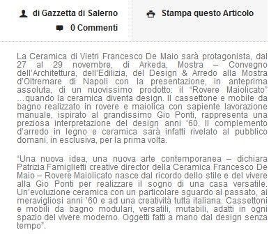 #ceramicafrancescodemaio #Arkeda #roveremaiolicato Tratto da http://www.gazzettadisalerno.it/2015/11/27/ceramica-vietri-francesco-de-maio-ad-arkeda-rovere-maiolicato/