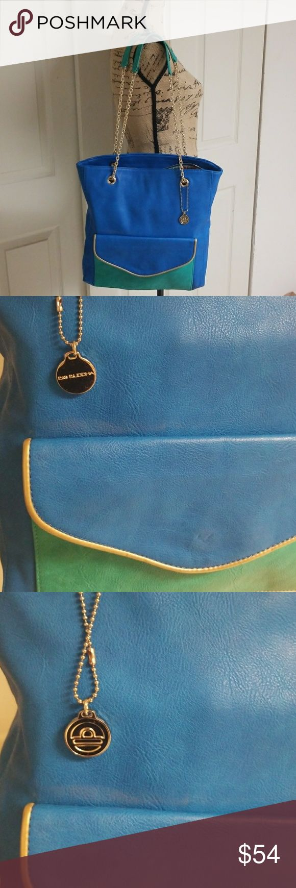 Big Buddha Bag Blue and green with gold lining  Excellent condition inside and out!  Good chain straps Big Buddha Bags