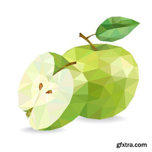 Low poly fruit vector, 15 x EPS