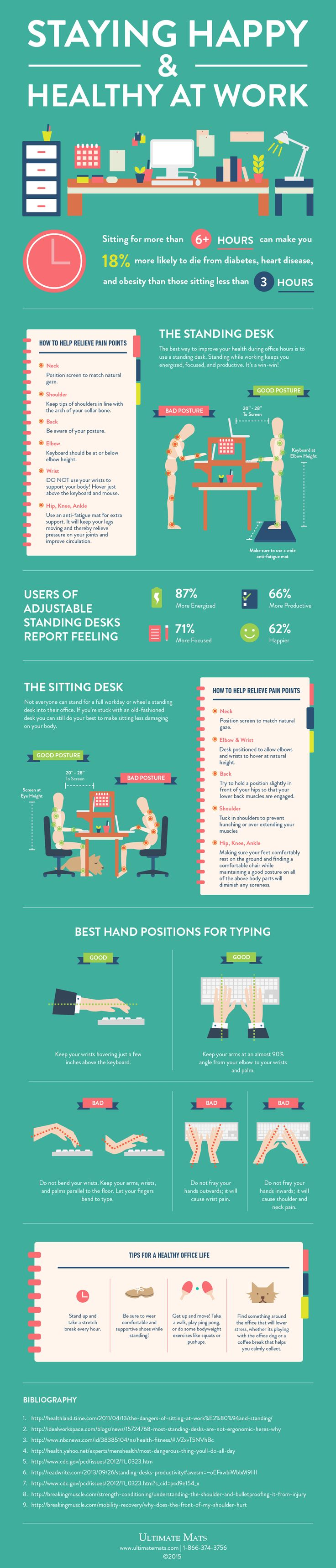 Top tips to staying stress free in the workplace infographic - Desk Ergonomics Posture Tips To Stay Happier Healthier At Work Infographic