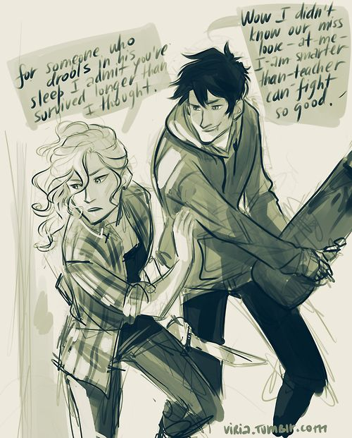 I love this Universe where Percy and Annabeth live in some Zombie-Apocalypse Earth where Percy is a Skater, and Annabeth is the hot Know-It-All.
